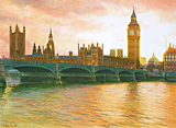 Thames reflections of the Houses of Parliament at sunset painted by artist Trevor Heath