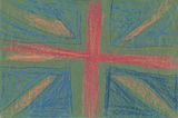 A Union Jack drawn by artist Trevor Heath