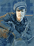 An original portrait print of Marlon Brando as Johnny Strabler in The Wild One by pop artist Trevor Heath