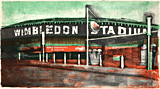 Wimbledon Stadium litho print by artist Trevor Heath